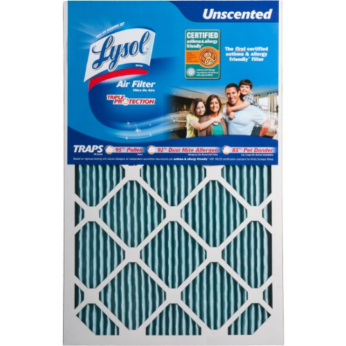 "Lysol Triple Protection Furnace/AC Air Filter, 16"" x 25"" x 1"", 6-Pack"