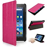2015 New Fire 7' Case Premium Leather Folio ,SOONHAU Ultra Lightweight Slim-Shell Stand Leather Smart Case Cover For Amazon New Fire 7 inch Tablet 2015 Release (Rose red)