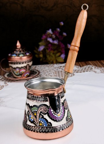 Unique Copper Milk Warmer Stovetop Pot (Cezve/Ibrik) XXL 20 Oz. Hand made hand painted in Turkey (Stove Top Milk Warmer compare prices)