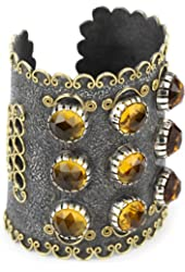"Stella Flame ""Byzantia"" 9 Stone Statement Cuff Bracelet"