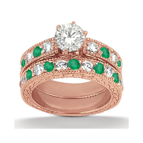 Best Engagement Ring And Wedding Band Diamond And Emerald Genuine 18 Karat Rose Gold (1.75Ct) Gh/Vs