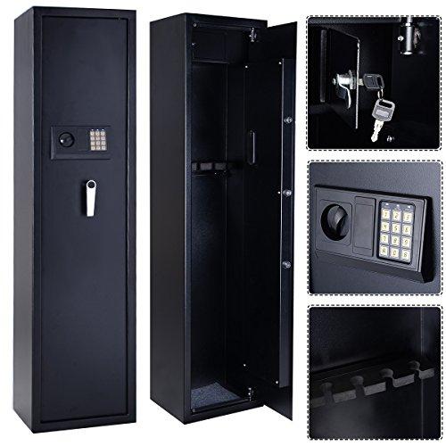 Goplus® 5 Rifle Electronic Lock Gun Storage Safe Cabinet Steel Lockbox Firearm