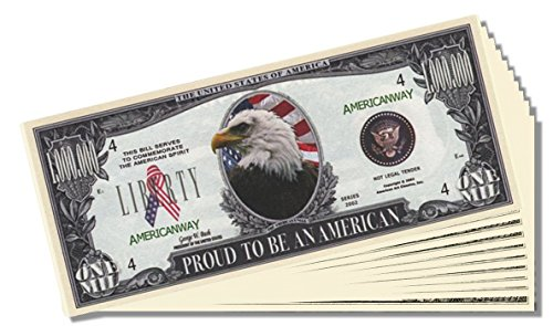 Proud to Be an American Novelty Million Dollar Bill - 10 Count with Bonus Clear Protector & Christopher Columbus Bill