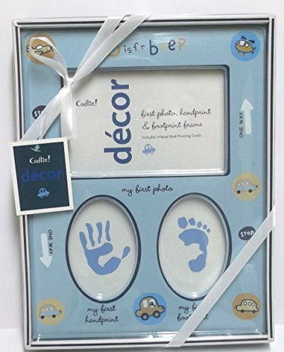 Cudlie! Decor Baby Boy's First Photo Handprint Footprint Frame - 1