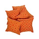 Rajrang Cotton Embroidered Sofa Décor Cushion Cover Set Of 5 Pcs
