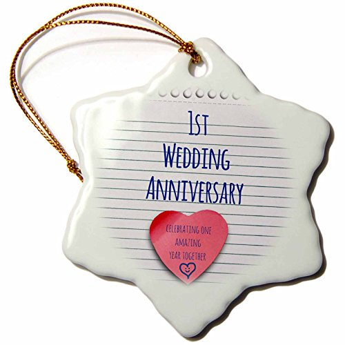 3dRose orn_154428_1 1st Wedding Anniversary Gift Paper Celebrating 1 Year Together Snowflake Ornament, 3-Inch, Porcelain