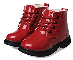 Cattior Toddler Little Kid Patent Leather Lace Warm Kids Shoes Flat Boots (1 M, Red)