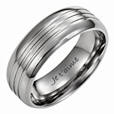 buy New Mens 8Mm Titanium Ring Engraved With I Love You In French Je T'Aime In Velvet Gift Box By Willis Judd Size 8