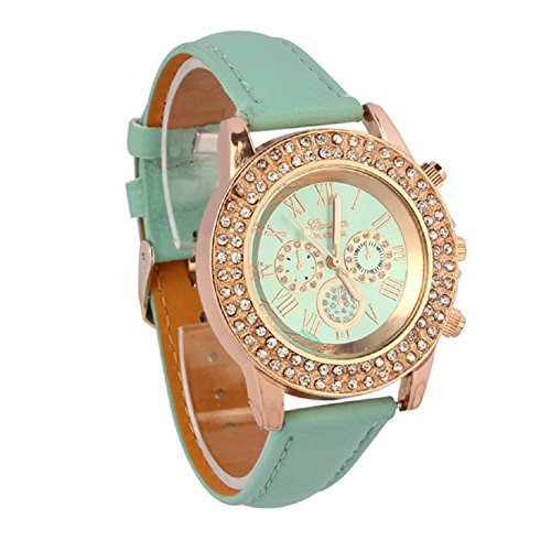 Coromose Women Crystal Decoration Dial Quartz Analog Leather Band Wrist Watch (Mint Green)