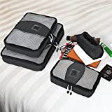 Chameleon-PACKING-CUBES-for-Travel-Set-of-4-Mesh-Luggage-Organizers-with-Shoe-Bag-Black