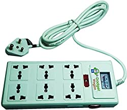 Gadget-Wagon 6 Way Double Sided 13 Amps Multi Country Universal Input 3m Cord Length 6 Strip Surge Protector
