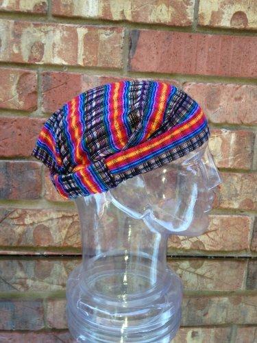 Inspirit Arts Large Rainbow Black Headband Expandable Handwoven Open Net Weave Lightweight Bandana Headwrap Elastic 100% Cotton Hair Scarf front-518756