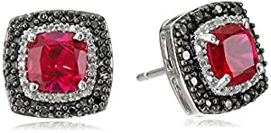 Sterling Silver Created Ruby Cushion with Black and White Diamond Accents Stud Earrings