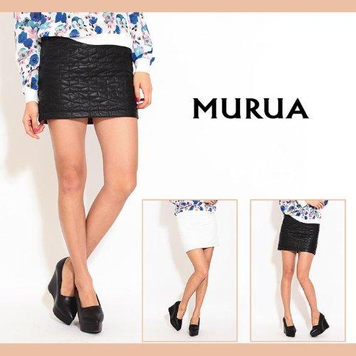 【MURUA(ムルーア)】レザーキルティングスカート 2(M)サイズ ホワイト