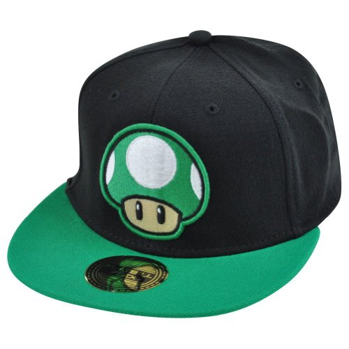 1Up Mushroom Super Mario Video Game Flex Fit One Size Flat Bill Hat Cap Black