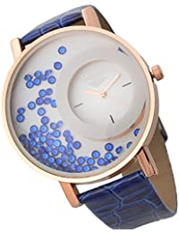 Felizo Leather Strap Analogue Women's Watch - Blue Moving Beads, Blue Strap