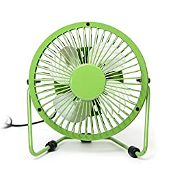 Momoday® 360-degree Rotating Rotatable Fan USB Powered Mini Metal Electric Fan Desk Cooling Fan Portable Office Computer Laptop PC USB Plug Queit Radiating Cooling Mini Fan With ON/OFF Switch (Green)