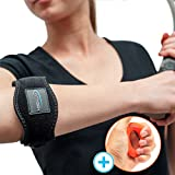 Best Bundle with Tennis Elbow Support and Silicone Hand Gripper - Arm Strap Provides Relief from Elbow Tendonitis and Prevent Treatment - Adjustable Elbow Brace for Weightlifting - E-Guide Bonus