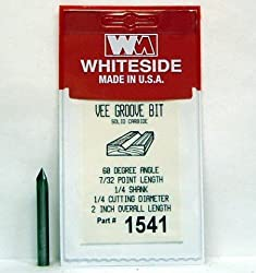 WHITESIDE MACHINE 1541 SOLID CARBIDE 3F 60 DEGREE V-GROOVE ROUTER BIT W/INCLUDED ANGLE 1/4 DIA