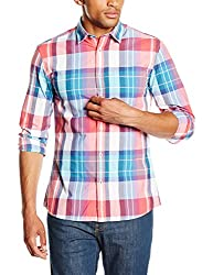 Celio Men's Cotton Casual Shirt (3596653498426_BAGEANT_Small_Coral Red 01)
