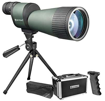 BARSKA Benchmark 12-60x78 Straight Spotting Scope with Handheld Tripod, Table Top Tripod, Soft Carrying Case And Hard Case by Barska