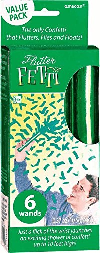 "Amscan Lush Flutter Fetti Wands Value Pack (6 Count), 6"", Green"