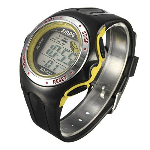 Familymall(TM) LED Digital Sport Armbanduhr Sportuhr Herren Kuelen Licht Light Wecker Datum Gelb
