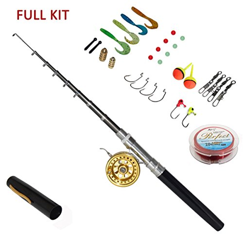 55 Inch Pen Fishing Rods with Fly Reel Combos Pocket Size Fishing Pole Full Kit (Fly Fishing Pole compare prices)