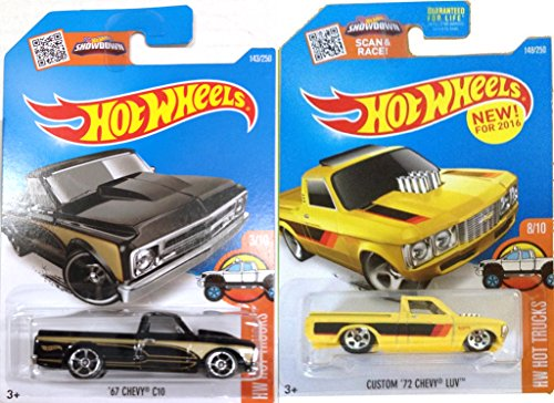 Chevy 2016 Hot Wheels Pickup Truck Set 2015 `72 Chevy Luv - `67 Chevy C10 in PROTECTIVE CASES