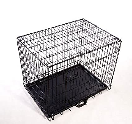 cage caisse de transport chien en m tal pliante 2 portes noir. Black Bedroom Furniture Sets. Home Design Ideas