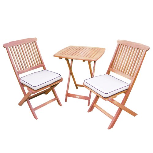 Outdoor Interiors Eucalyptus 3 Piece Square Bistro Outdoor Furniture