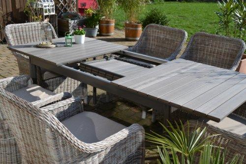 Gartenmbel-Set-Como-6-Tisch-ausziehbar-Holzdekor-mit-6-Sessel-Rattan-Polyrattan-Geflecht
