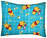 SheetWorld Crib / Toddler Baby Pillow Case - Flannel Pillow Case - Pooh Blue Grid - Made In USA