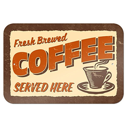"Fresh Brewed Coffee 9"" X 6"" Metal Sign"
