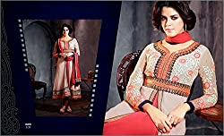 Fusion Light Pink & Red Coloured Anarkali Suit
