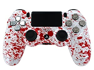 """Blood Splatter w/Chrome Dpad & Real Nickel 9mm Bullet Buttons"" PS4 Custom Modded Controller Exclusive Design - COD Ready Zombie Auto Aim, Drop Shot, Fast Reload, & Menu for Ghost !"