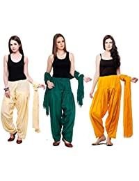Mango People Products Combo Of OFF WHITE,Dark Rama GREEN, & Mustard YELLOW Colour 3 Indian Readymade Patiala Salwar...