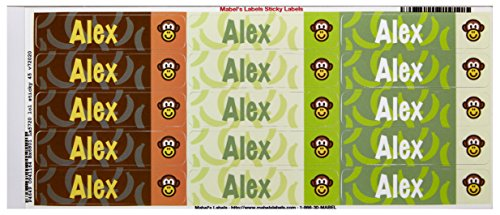 Mabel'S Labels 40845005 Peel And Stick Personalized Labels With The Name Alex And Monkey Icon, 45-Count