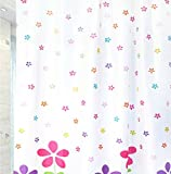 Plastic Shower Curtain Waterproof Mouldproof With Pink Flowers Curtain Luxury Decor,80x72inch(200x180CM)