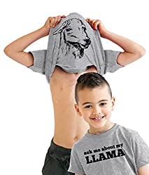 Kids' Ask Me About My Llama T Shirt Funny Youth Llama Flip Shirt Llamas Tee by Crazy Dog Tshirts