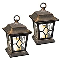 GardenKraft 18420 Table/Hanging LED Solar Flickering Candle Lantern Lights (Pack of 2) by Benross Group