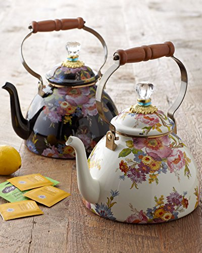 Flower Market Three-Quart Tea Kettle, WHITE (Flower Tea Kettle compare prices)