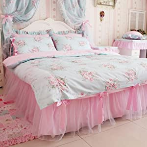 DIAIDI Blue Pink Floral Bedding Sets Korean Romantic Floral Print