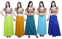 Pistaa combo of Women's Cotton Parrot Green, Mustard, Dark Rama, Light Rama and Ink Blue Color Best Readymade Comfort Inskirt Saree petticoats