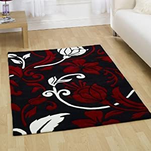 Damask Black Red Cream Large Luxury Thick Designer Modern Rugs 4 SIZES AVAILABLE, 160x220cm (5ft6&'&'x 7ft4&'&')       reviews