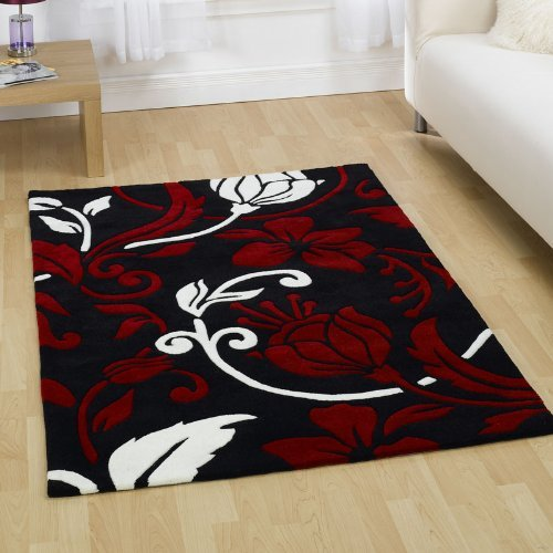 Damask Black Red Cream Large Luxury Thick Designer Modern Rugs 4 SIZES AVAILABLE, 120x170cm (4ft0''x 5ft7'')