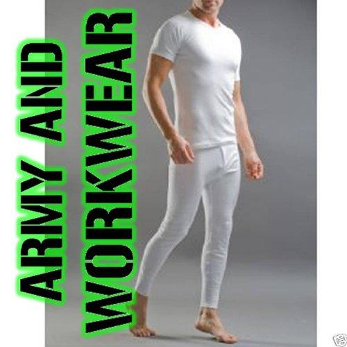 Mens White Thermal Underwear Set 1 T-shirt & 1 Long John (2 pieces)