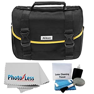 Nikon Starter Digital SLR Camera Lens Yellow Stripe Case Gadget Bag For D3100 D3200 D3300 D5200 D5300 D7000 D7100 D90 D60 D800 + Photo4less Cleaning Cloth and Camera & Lens 5 Piece Cleaning Kit