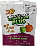 Pet 'n Shape Freeze Dried Chicken Liver PLUS Treats for Cats, Pumpkin and Apple, 100 Percent Natural, 3 Pack of 2-Ounce Bags
