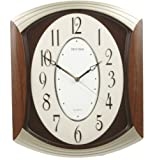 RHYTHM Arched WoodGrain Wall Clock with Silent Movement and 3D Numerals in Wooden Case